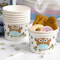 Little Owls Blue Ice Cream / Treat Tubs (8)